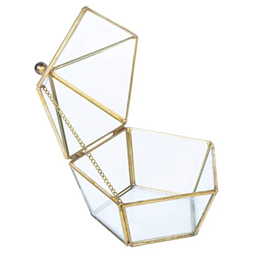 SUPVOX Diamond Jewelry Box Necklace Organizer Earring Ring Holder Glass Storage Case Everlasting Flower Gift Box for Home Wedding Party Decoration (14x14x14cm) ()