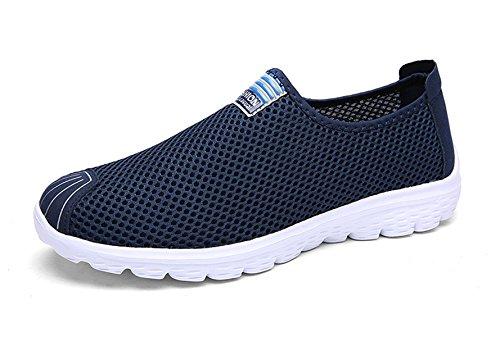 Sooneeya Sport Unisexe En Mesh Respirant Sneaker Course Aller Glisser Facilement Flaneur Occasionnel Bleu Fonc