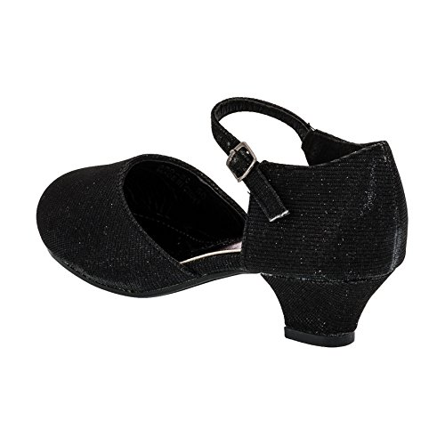 Max Shoes Festliche Mädchen Glitzer Ballerina Pumps mit Absatz M392sw Schwarz