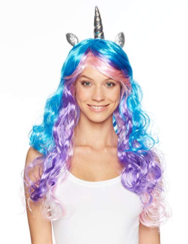 Unicorn Wig - 3 Color Wig with Unicorn Horn and Ears (Blue, Purple, Pink Hair) (Wig Blue Kids For Mohawk)