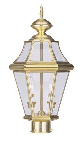 Livex Lighting 2264-02 Georgetown 2-Light Outdoor Post Head, Polished - Brass Polished Post Outdoor Large