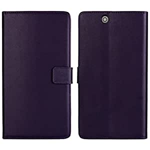 Waltzmart Cowskin Flip Leather Wallet Card Pouch Stand Back Case Cover For Sony Xperia Z Ultra XL39h Purple