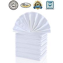 "Cieltown Cotton Cloth Dinner Napkins by 1 Dozen (White, 17""x17"")"