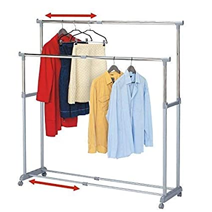Tatkraft Big Party Double Clothes Rail Telescopic Extendable Extra Space Rack Chrome Plated Steel 37-63