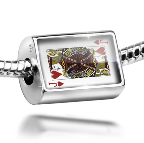 (NEONBLOND Sterling Silver Bead Jack of Hearts - Jack/card game Charm Fits All European Bracelets)