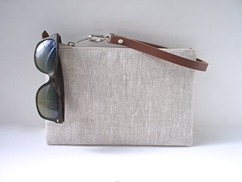 Wristlet in Simple Linen and Leather by Independent Reign - New York