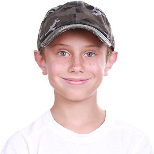 KBC-13LOW BLK-CAM (6-9) Kids Boys Girls Hats Washed Low Profile Cotton and Denim Plain Baseball Cap Hat Unisex Headwear