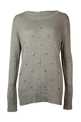 Maison Jules Women's Rhinestone Crew Neck Sweater (L, Charcoal (Rhinestone Sweater)