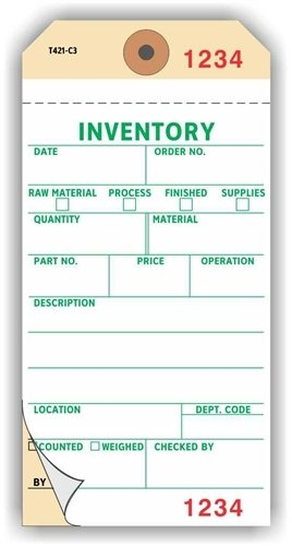 Inventory Tags, Numbered 3 Places, , 6.25'' x 3.125'', White on Manila NCR Paper,2-Ply + Stub, Plain, Box of 500 by Linco