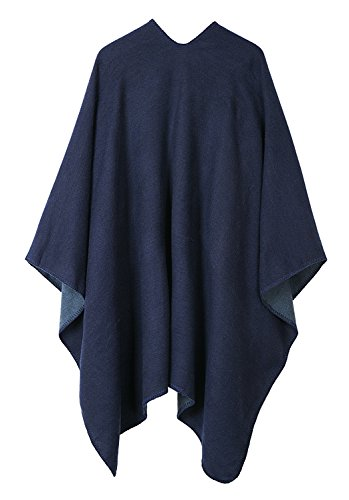 Urban CoCo Women's Color Block Shawl Wrap Open Front Poncho Cape (Series 7-navy blue) by Urban CoCo (Image #1)