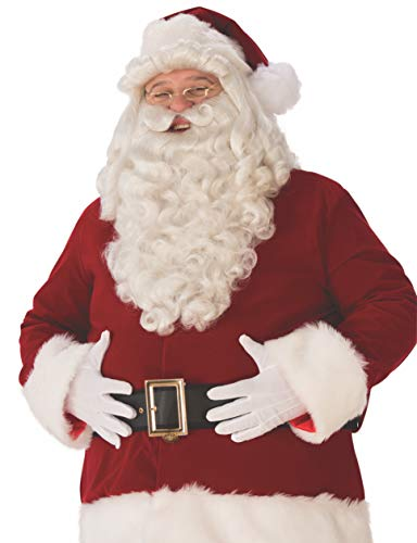 Rubie's Unisex-Adult's Ultra Premium Santa Beard and Wig Set, White, One ()