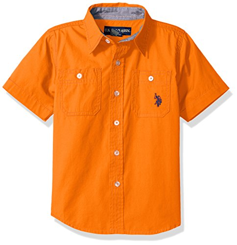 U.S. Polo Assn. Little Boys' Short Sleeve Poplin Woven Sport Shirt, Stanton Orange, 4T (Shirt Woven Sport)
