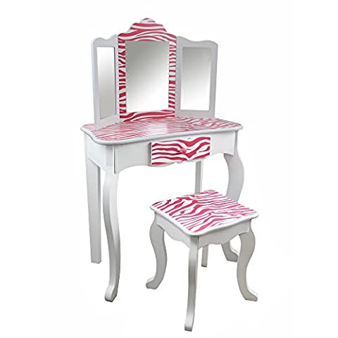 Teamson Kids - Fashion Prints Girls Vanity Table and Stool Set with Mirror - Zebra (Pink / White)