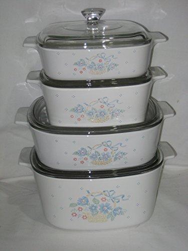 8 Piece Set - Corning Blue Ribbon Flower Basket 1 Liter, 1 1/2 Liter, 2 Liter & 3 Liter Casserole Baking Dishes w/Lids USA
