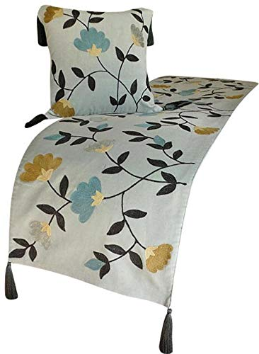 The HomeCentric Grey Bed Runner with Decorative Throw Pillow Cover, 18 x 74 inches Queen Size Bed Scarf in Grey Velvet with Crewel Embroidery - Floral Crewel