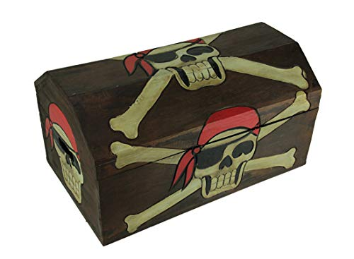 Private Label Wood Childrens Chests Wooden Pirate Skull Treasure Chest Storage Box 19 X 9.5 X 10.5 Inches -
