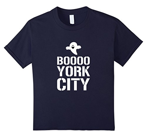 [Kids Halloween Funny Tshirt Boo New York City Ghost 12 Navy] (Zombie Girl Costume Party City)