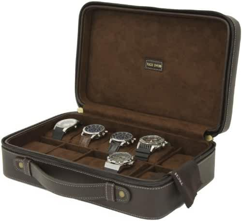 Tech Swiss 10 Watch Case Compact Travel Briefcase Design Brown Leather Large Compartments Zipper