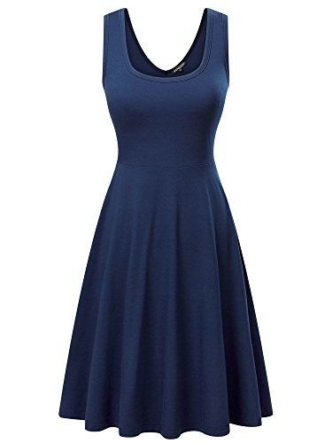 (FENSACE Womens Sleeveless Scoop Neck Summer Beach Midi A Line Tank Dress, Navy, X-Large)