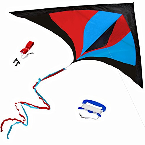 (StuffKidsLove Best Delta Kite, Easy Fly for Kids and Beginners, Single Line w/Tail Ribbons, Stunning Red, Blue & Black, Materials, Large, Meticulous Design and Testing + Guarantee + Bonuses!)