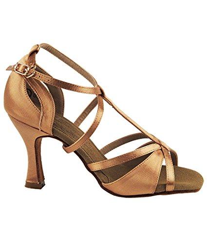 Very Fine Ballroom Latin Tango Salsa Dance Shoes for Women S1002 2.5 Inch Heel + Foldable Brush Bundle Tan Satin dd8e2sCS