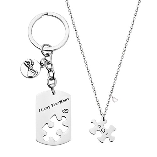 ZUOBAO I Carry Your Heart Engraved Stainless Steel Dog Tag Keyring and I Love You Puzzle Necklace Set for Couple (Carry Heart Set) by Zuo Bao