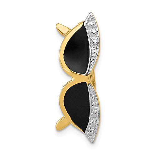 14k Yellow Gold Enameled Sunglasses Pendant Charm Necklace Slide Fine Jewelry Gifts For Women For Her ()
