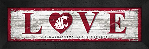 Washington State Cougars Framed - College Love My Team Logo in Heart Horizontal Washington State Cougars Framed Posters 22x6 Inches