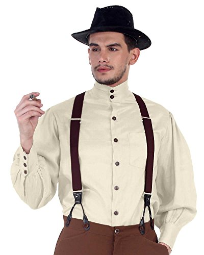 Puffy Sleeve Shirt - ThePirateDressing Steampunk Victorian Costume Seigneur Shirt [Off White] (Large)