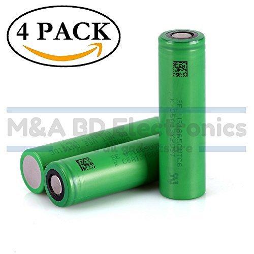 Sony VTC6 NMC 18650 High Drain 3000mAh Li-ion 30A 3.7V Rechargeable Flat Top Battery, (4 Pcs) by M&A BD Electronics