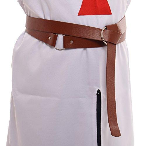 BLESSUME Medieval LARP Reenactment Viking Battle Knight Belt PU Leather Brown -
