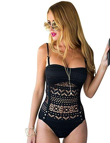 Sweetheart Pink Bikini Swimsuit - LookbookStore Women's Black Crochet Lace Halter Straps Swimsuits Swim Bathing Suit US 10