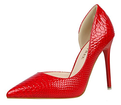 T&Mates Womens Sexy Fashion Pointed Toe High Heel Stiletto Patent D'Orsay Dress Pumps Shoes (5.5 (Cute Construction Worker Costumes)