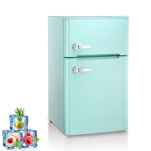Kismile Double Door 3.2 Cu.ft Compact Refrigerator with Top Door Freezer,Freestanding mini Fridge with Adjustable Temperature,Upright Freezer for Apartment,Home,Office,Dorm or RV (Green, 3.2 Cu.ft)