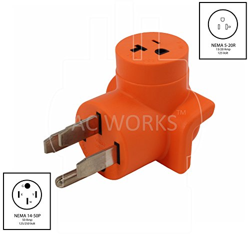 AC WORKS [AD1450520] Plug Adapter NEMA 14-50P 50Amp Range/RV/Generator Outlet to Household 15/20Amp 125Volt T-Blade Female Connector by AC WORKS (Image #1)
