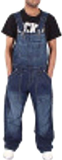 YYG メンズファッションオーバーオールストレッチワークバギーポケットデニムジャンプスーツロンパー