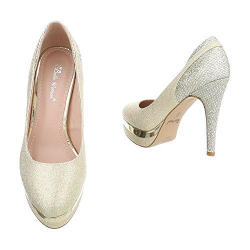 Ital-Design High Heel Pumps Damenschuhe High Heel Pumps Pfennig-/Stilettoabsatz High Heels Pumps Gold 826