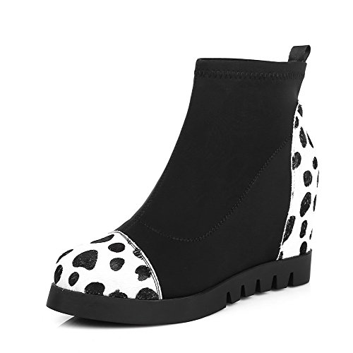 WeenFashion Women's with Cow Leather High-Heels Round-Toe Boots with Women's Two-Toned and Platform B016ELI6EU Parent 6010c7