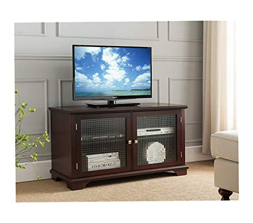 Wood & Style Furniture Brand TV Stand Entertainment Center with Frosted Glass Doors Walnut Premium Office Home Durable Strong ()