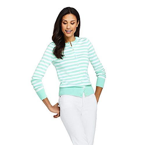 Lands' End Women's Supima Cardigan Stripe Sweater, S, White/Light Aqua Jade - Jade Ribbed Sweater