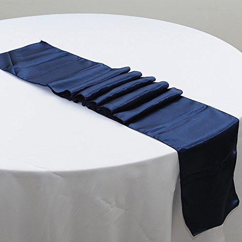 10PCS 12 x 108 Inch Satin Table Runner Wedding Banquet Decoration (#18 Navy Blue) (Navy Blue Table Runners Wedding)