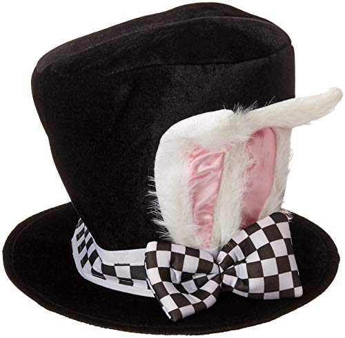 Jacobson Hat Company Men's Velvet Bunny Ear Top Hat with Checkered Bow Tie, Black, Adult