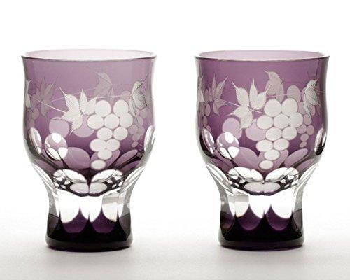 Edo Kiriko Glass Studio Sai Feng grape pattern Shuhai pair M-952-2V by Edo kiriko