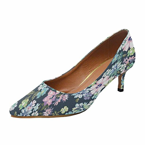 InterestPrint Womens Low Kitten Heel Pointed Toe Dress Pump Shoes Beautiful Ditsy Floral Background Multi 1 F75Vqp
