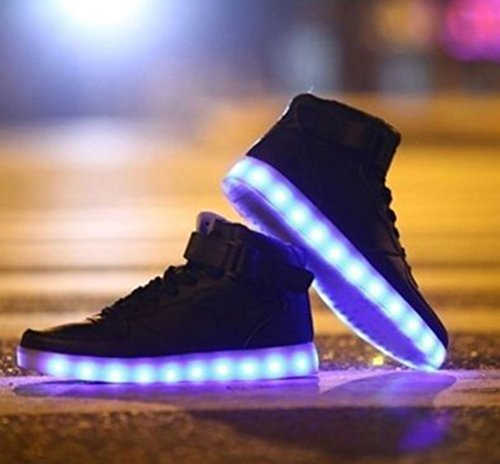 [Presente:peque?a toalla]Plateado EU 43, manera plata Hombres Zapatos LED Up JUNGLEST? colores