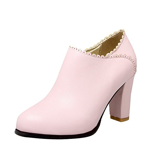 Ankle Pink Heel Dress Fashion Sweet Womens High Cute Boots Carolbar Zip xBq7gWf