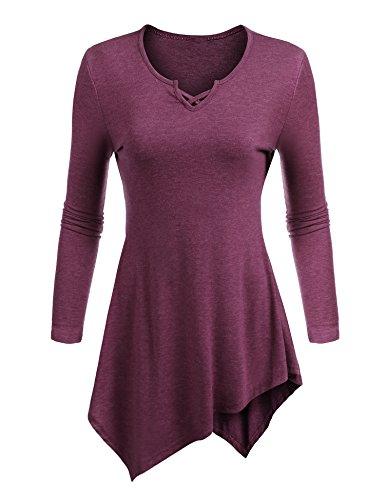 Womens Long Sleeve Tunic Sweatshirt T shirt Top Wine Red (Embellished Denim Shirt)
