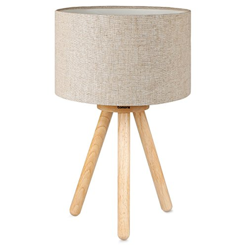 Bedside Lamp Tomons Wood Tripod, Soft Warm Light for Bedroom Decorated, Night Stand Lamp with Fabric Lampshade, Simple Design, LED Bulb Included