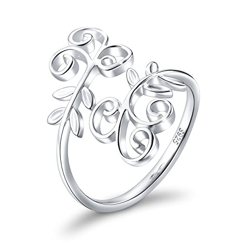(Ivy Leaf Ring for Women S925 Sterling Silver Adjustable Wrap Open Spiral Spoon Ring 5 6 7 8)
