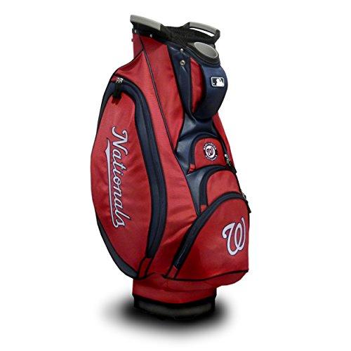 Team Golf MLB Washington Nationals Victory Golf Cart Bag, 10-way Top with Integrated Dual Handle & External Putter Well, Cooler Pocket, Padded Strap, Umbrella Holder & Removable Rain Hood
